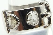 Vintage 18ct white gold Diamond set buckle ring Size T 1/2. Weight 10.1 grams.