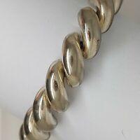 "Solid sterling silver 925 bracelet bangle Az484-23 mens heavy chain 7"" jewellery"