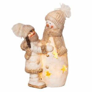 Dekofigur Winterkind mit Schneemann LED beleuchtet Weihnachtsdeko Figur weiß