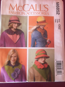 McCall's sewing pattern M6852 women's hats cloche 1930s flapper cosplay