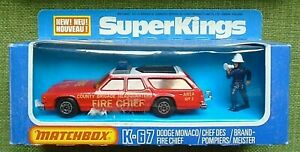 DODGE MONACO FIRE CHIEF,, BOXED,, K-67 MATCHBOX SUPERKINGS 1978