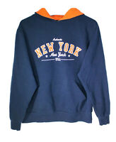 OKI Wear Womens Medium New York Hoodie Sweatshirt Pullover Blue Orange