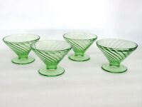 Federal Diana Swirl Style Green Glass Set of 4 Dessert Ice Cream Cups 522B