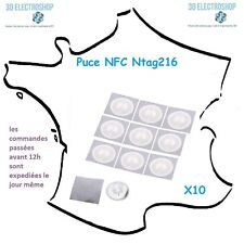 10 x Puce NFC Ntag216 ISO14443A 13.56 Mhz 888 Octets 25mm autocollante