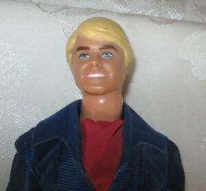 Vintage Superstar Era Ken Blue Velour Jumpsuit Swivel Waist W/Ring