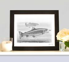 ARCTIC CHAR Fly Fishing Trolling Lake Nymph Fish Art Print Drawing Picture