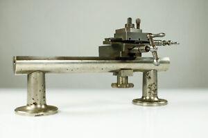 Uhrmacher Drehbank mit Kreuztisch Support auf Bett wohl Boley oder Lorch Vintage