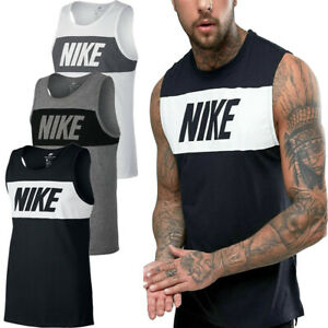 Nike Mens Vests Tanks Sleeveless Retro Logo Vest Workout Gym Fitness Running Top