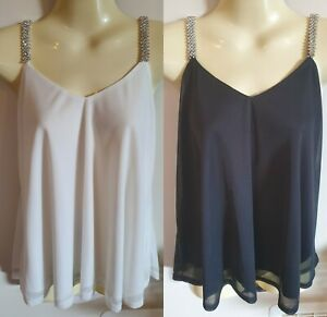 ValleyGirl Diamante Strap Top Black OR White Size Small BNWOT