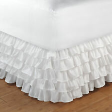 White Cotton Ruffles King Bedskirt : Layered Bed Skirt Dust Ruffled Princess