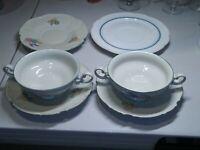 GERMAN PORCELAIN MIX&MATCH GROUP-(2)CREAM SOUP BOWLS w/(3)UNDERPLTS &SALAD PLATE