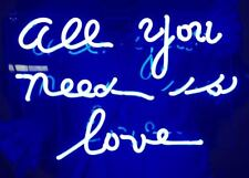 """Blue """"ALL YOU NEED IS LOVE"""" Home Room Lamp Sofa NASCAR NEON Light Sign 13""""x8"""""""