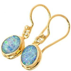 Oval Feurig Natürlich Opal 925 Sterlingsilber Vermeil Vergoldet Ohrhänger