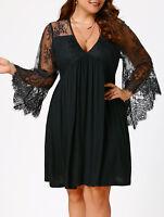 Women Lace Insert Plus Size Tunic Evening Party Long Flare Sleeve Dress XL-5XL