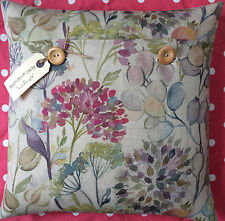 """Handmade cushion cover using Voyage quality Linen """"Hedgerow"""" (floral)"""