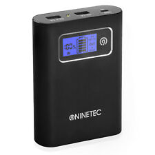 NINETEC 13.400mAh Power Bank Akku für Iphone 4 5 C S 6 HTC One M7 M8 NT568 black