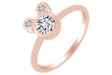 Round Shape Cubic Zirconia Mickey Mouse Ring 14K Rose Gold Over