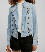 $350 Free People Women's Blue Midly Distressed Military Inspired Brass Button XS