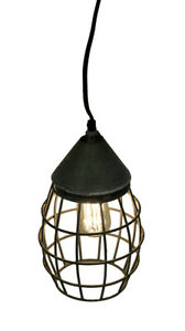 Scratch & Dent Small Farmhouse Wire Cage Light Pendant in Weathered Zinc