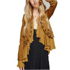 HaoDuoYi Womens Motobiker Crop Peplum Frill Blazer Jacket Retro Long Sleeve Coat