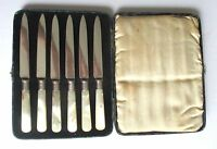 Antique Set of (6) Mother-of-Pearl & Sterling Silver Fruit Knives