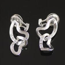 Georg Jensen White Gold Ear Clips w/ Diamonds - Interlocking Hearts