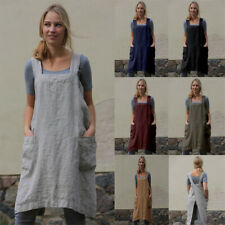 Women Summer Long Kitchen Apron Casual Solid Dress Loose Pinafore Pocket Apron