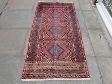 Vintage Shabby Chic Worn Hand Made Traditional Oriental Wool Red Rug 185x97cm