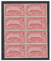 Gibraltar - 1931/3, 1d (Perf 13 1/2 x 14) - Block of 8 - MNH - SG 110a