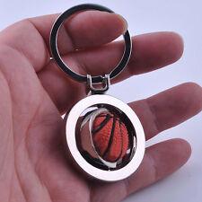 Silber Schlüsselanhänger mit orange 3D rotierend Basketball aus Edelstahl Unisex