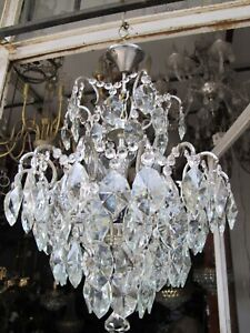 Antique Vnt French Spider Style Crystal Chandelier Ceiling Lamp 1940's 16in Ø Dm