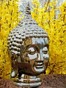 Buddha Kopf Keramik glasiert Silber Asien Dekoration Geschenk Sammeln Altar