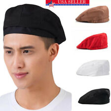 Men Women Kitchen Chef Beret Hat Unisex Catering Baker Waiter Cooking Work Cap