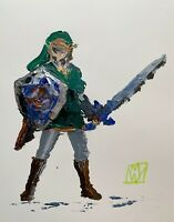 Original Abstract Link Zelda Video Game Wall Art Acrylic Painting 11x14""
