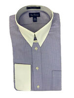 Paul Fredrick Mens Pinpoint Edge-Stiched Straight Collar Dress Shirt