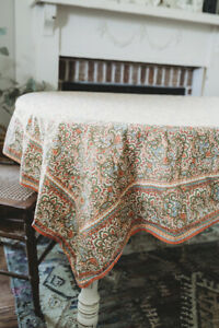 """April Cornell 60"""" x 96"""" Tablecloth Soft Coral Green Coral Leaves Floral Cotton"""