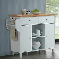 Kitchen Buffet Island Cart White Finish Utility Storage Cabinet With Spice Rack