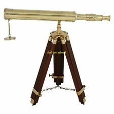 "Antique Marine Nautical Navy Brass Telescope 18"" With Wooden Tripod Stand Gift"