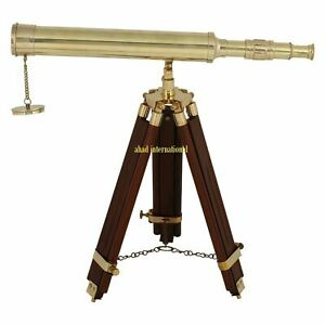 """Antique Marine Nautical Navy Brass Telescope 18"""" With Wooden Tripod Stand Gift"""