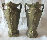 Antique French Petite Pair Art Nouveau Matching Vases with Grape Design c1905