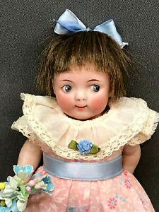 "Googly Rare 6"" Character Mignonette Doll Watermelon Smile Antique Bisque German"