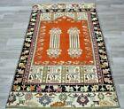 Bohemian Traditional Vintage Area Rug Turkish Handmade Ethnic Wool Carpet 3x6ft.