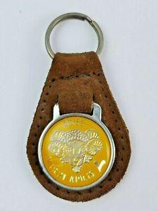 Vintage Aries leather keychain keyring metal back Brown