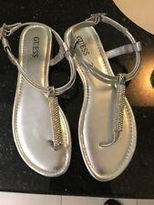 Guess $90 Sandals Flats Thongs Metallic Silver w rhinestones US 7EU 37