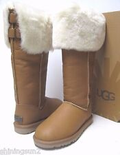 UGG DEVENDRA WOMEN TALL BOOTS VINTAGE CHESTNUT BOMBER LEATHER US 7 /UK5.5/EU38