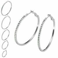 1 Paar Ohrringe mit Strass Steinen silber silberfarben Creolen Hoops