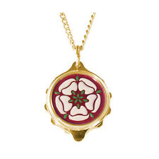 """SOS Talisman-Gold Plated Pendant with Tudor Rose Motif and 22"""" Chain"""