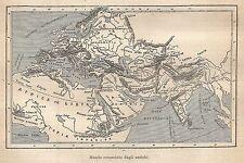 A9200 Mondo conosciuto dagli antichi - Xilografia Antica del 1906 - Engraving