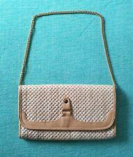 60er Vintage *Clutch Handtasche Tasche *Beige *Bastgeflecht *Goldkette