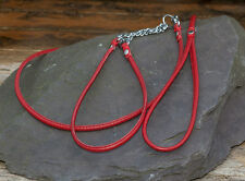 Dog Show Lead and Collar Soft Nappa Luxury Leather - Red